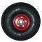 Roue complète GONFLABLE - Deli S-310 - 4.00-4 (12x4) TT 6PR / Jante Acier rouge à moyeu roulements à billes de Ø25x75 mm / Valve coudée