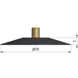 Embase de valve à vulcaniser à froid - Ø70 mm - avec embout filté pour valves universelles à visser