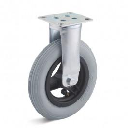 Roulette FIXE avec roue Ø150x30 pneumatique gonflable + Platine 4 trous entraxe 60x50 mm - Moyeu roulement à billes - Hauteur totale de 188 mm