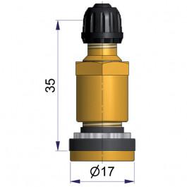 Valve TUBELESS en LAITON TR 416-S - 35 mm - pour trou de jante de Ø11,5 mm - Pression maxi à froid de 4,5 bars - Couple de serrage de 3,5 à 4,6 N.m.