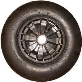 Roue complète GONFLABLE - Deli S-399 - 4.80/4.00-8 (16x4 · 400x100 · 4.00-8) TT 4PR Valve droite TR13 / Jante plastique Noire GK 2.50Ax8 H2 - Moyeu de 75mm de long, pour roulement à billes de Ø47xEP.14