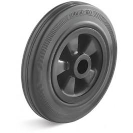 Roue de manutention caoutchouc plein noir - Ø250x50 / Corps plastique moyeu roulement à rouleaux de Ø20x60