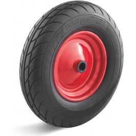 Roue complète INCREVABLE - TobiTyre 4.00-8 - Bandage Polyuréthane Noir / Jante acier moyeu roulement à billes Ø25x75 - Capacité de charge 250 kgs