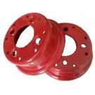 Jante rouge acier en 2 parties boulonnées - 5.50x8 TT - 4 trous - ET-3 - Ø85x130xØ13.0