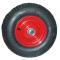 Roue complète GONFLABLE - Pneu Kenda K352 - 4.80/4.00-8 (16x4 · 400x100 · 4.00-8) TL 6PR / Jante Acier rouge à moyeu roulements à billes de Ø25x75 mm / ET0 / Valve droite TR13
